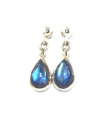Teardrop Rainbow Moonstone Earrings Silver large